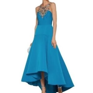 New Marchesa Notte Embellished teal formal gown 10